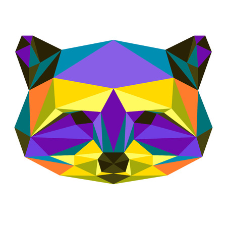 grabber: Abstract bright colored polygonal triangle geometric raccoon isolated on white background for use in design for card, invitation, poster, banner, placard or billboard cover