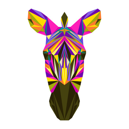 motley: Abstract bright motley colored polygonal triangle geometric zebra isolated on white background for use in design for card, invitation, poster, banner, placard or billboard cover