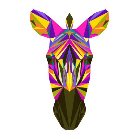 zebra: triángulo poligonal cebra abigarrada brillante abstracta geométrica de color aislados sobre fondo blanco para su uso en el diseño de la tarjeta, invitación, cartel, pancarta, cartel o la tapa de la cartelera