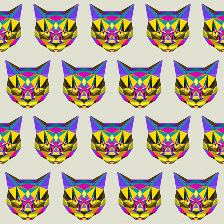 glaring: Abstract bright motley colored polygonal triangle geometric angry cat seamless pattern background for use in design.