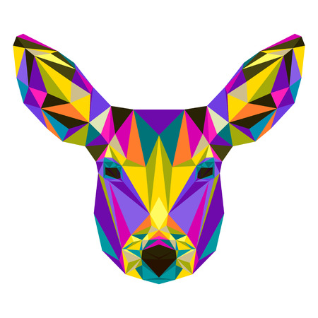 timorous: Abstract bright colored polygonal triangle geometric deer isolated on white background for use in design for card, invitation, poster, banner, placard or billboard cover