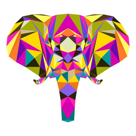 Abstract bright colored polygonal triangle geometric elephant isolated on white background for use in design for card, invitation, poster, banner, placard or billboard cover