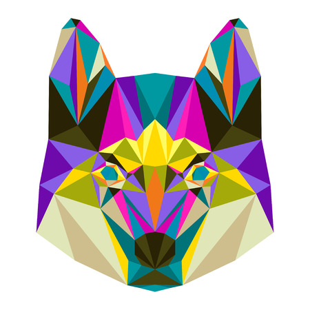 trusty: Abstract bright colored polygonal triangle geometric husky isolated on white background for use in design for card, invitation, poster, banner, placard or billboard cover