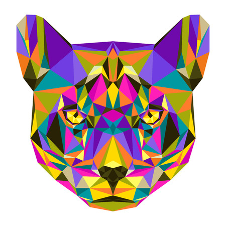 puma: Abstract bright motley colored polygonal triangle geometric puma isolated on white background for use in design for card, invitation, poster, banner, placard or billboard cover
