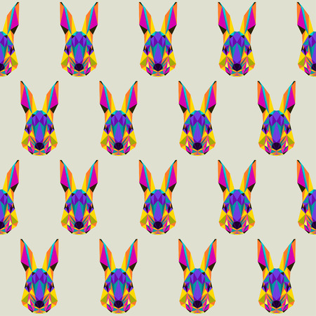 coward: Abstract bright colored polygonal triangle geometric rabbit seamless pattern background for use in design