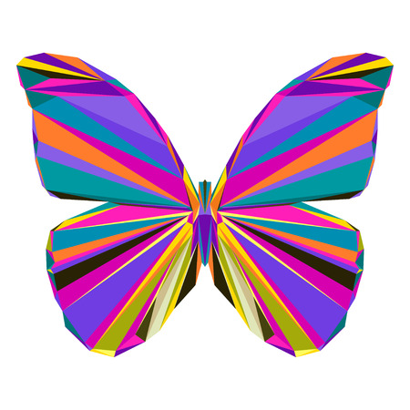 flit: Abstract bright motley colored polygonal triangle geometric butterfly isolated on white background for use in design for card, invitation, poster, banner, placard or billboard cover