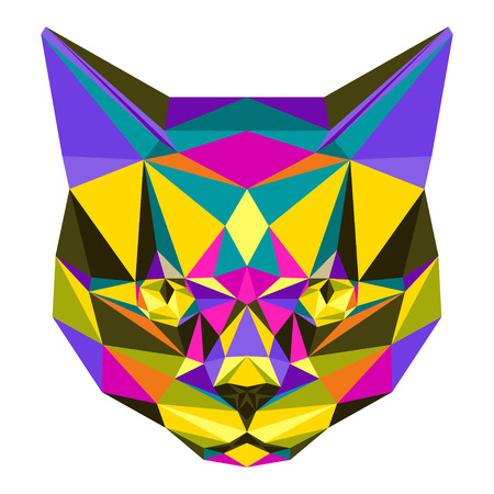 noiseless: Abstract bright motley colored polygonal triangle geometric angry cat isolated on white background for use in design for card invitation poster banner placard or billboard cover. Illustration