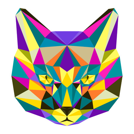 motley: Abstract bright motley colored polygonal triangle geometric cat isolated on white background for use in design for card invitation poster banner placard or billboard cover.