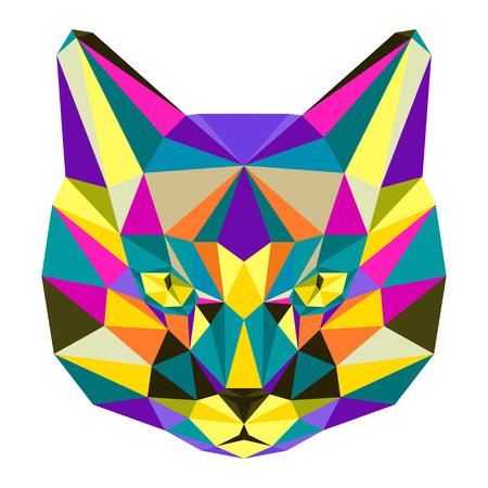 motley: Luminoso astratto eterogeneo colorato triangolo poligonale gatto geometrica isolato su sfondo bianco per l'uso in progettazione per l'invito carta manifesto bandiera cartello o copertura cartellone. Vettoriali
