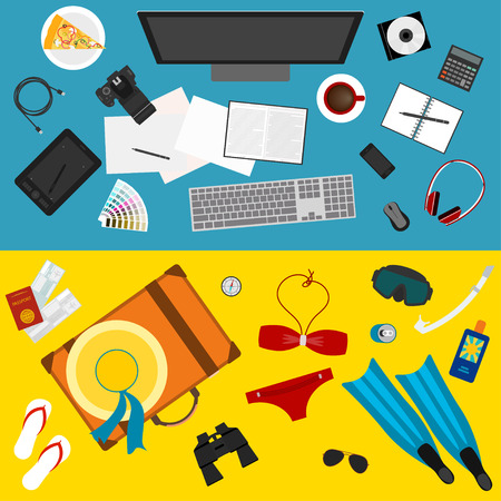 bright color illustration in trendy flat style with sets of objects that modern people use in everyday life and during rest for use in design card, poster, banner, placard, billboard Illustration