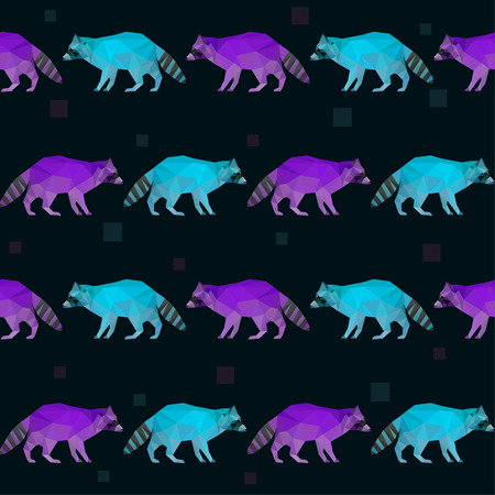 Abstract polygonal geometric triangle bright purple and blue colored raccoon seamless pattern background for use in design Illustration