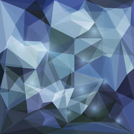 jaded: Abstract dark blue polygonal vector triangular geometric background with glaring lights for use in design for card, invitation, poster, banner, placard or billboard cover Illustration