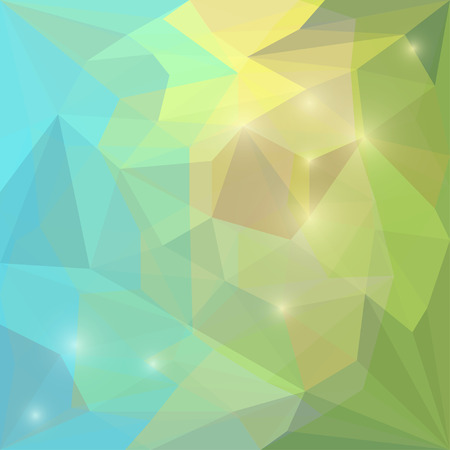 jaded: Abstract green, blue and yellow colored polygonal vector triangular geometric background with glaring lights for use in design for card, invitation, poster, banner, placard or billboard cover Illustration