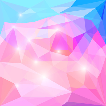 crumbling: Abstract bright pink and blue colored polygonal vector triangular geometric background with glaring lights for use in design for card, invitation, poster, banner, placard or billboard cover