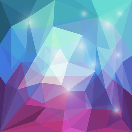 motley: Abstract bright motley polygonal vector triangular geometric background with glaring lights for use in design for card, invitation, poster, banner, placard or billboard cover