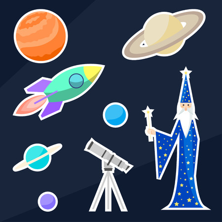 confines: magician astrologer and space objects. Bright funny cartoon illustration for use in design for sticker, label, patch, card, poster, banner, placard,  brochures or billboard cover