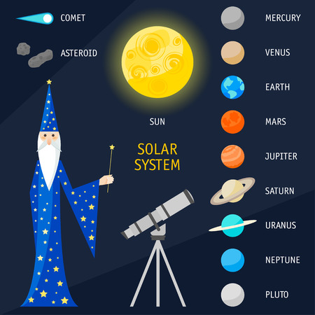 astrologer: Solar System objects. Bright funny cartoon illustration with magician astrologer for use in design for card, poster, banner, placard,  brochures or billboard cover