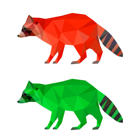 Raccoon set painted in imaginary colors isolated on white background. Abstract bright polygonal geometric triangle illustration for use in design. Illustration