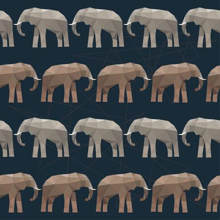 animales del bosque: Elefante sin problemas de fondo aislado en negro. ilustración poligonal brillante abstracta geométrica del triángulo para su uso en el diseño Vectores