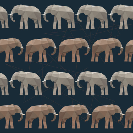 safari animals: Elephant seamless pattern background isolated on black. Abstract bright  polygonal geometric triangle illustration for use in design Illustration