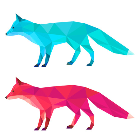 sly: Fox set painted in imaginary colors isolated on white background. Abstract bright polygonal geometric triangle illustration for use in design.