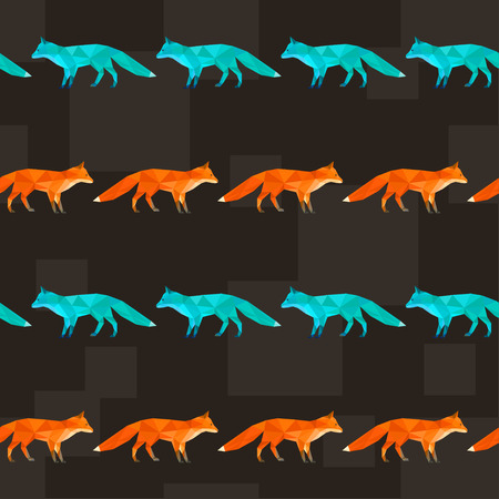Polygonal abstract fox  painted in bright imaginary colors isolated on black cover. Seamless pattern geometric background for use in design.