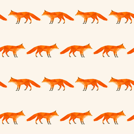 smartness: Polygonal abstract fox isolated on soft cover. Seamless pattern geometric background for use in design.