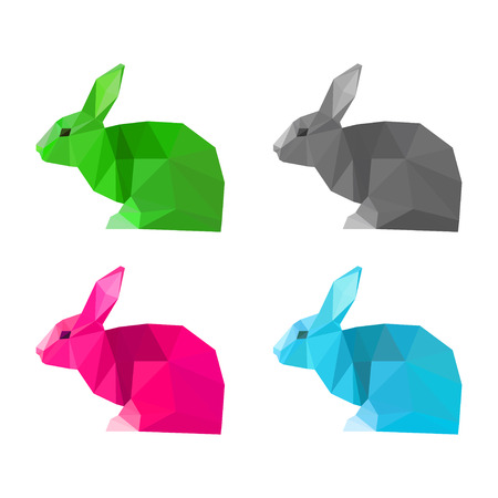 coward: Rabbits set painted in imaginary colors isolated on white background. Abstract bright polygonal geometric triangle illustration for use in design.