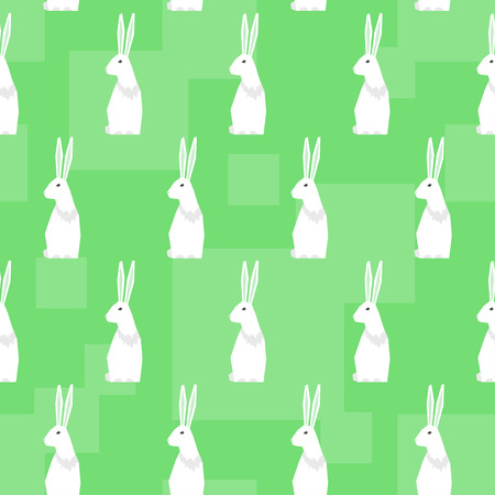 fell: Funny cartoon rabbits. Abstract geometric seamless pattern background for use in design Illustration