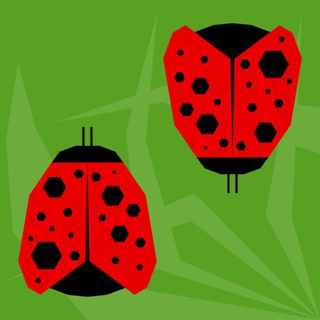 ladybird: funny cartoon ladybird isolated on green background