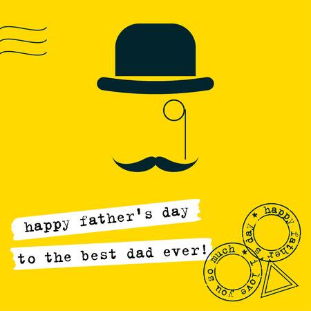 telegrama: El día de padre fondo de la tarjeta de felicitación. Conceptual simple ilustración grahpic con sombrero, monóculo y el bigote en el estilo plano de moda aislado en el elegante tapa de color amarillo brillante.