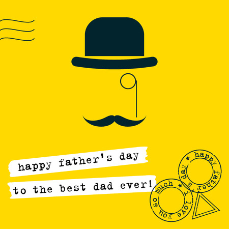 Fathers Day greeting card background. Conceptual simple grahpic illustration with hat, monocle and moustache in trendy flat style isolated on stylish bright yellow cover. Illustration