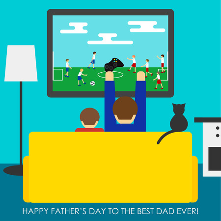 television icon: Happy Fathers Day greeting card background. Conceptual simple grahpic cartoon vector illustration with dad and son playing in soccer.Trendy flat style isolated on stylish bright blue cover.