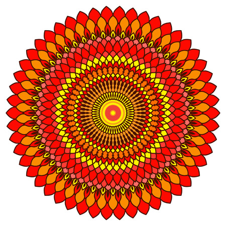 singular: Hand drawn ornamental lace round mandala for use in design. Bright summer sunshine red, orange and yellow colored illustration.