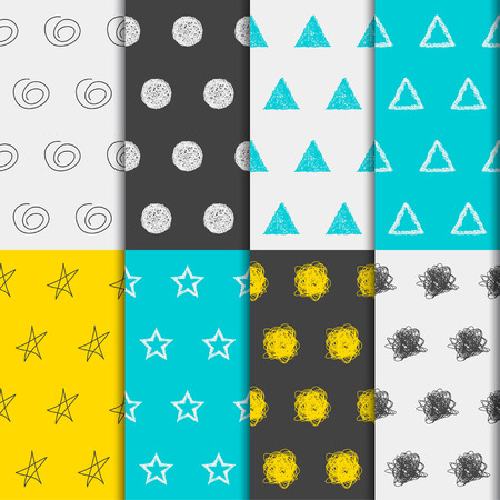 sihlouette: Hand drawn doodle seamless patterns set. Bright abstract geometric handmade shapes funny backgrounds collection for use in design for card, invitation, poster, banner, placard, billboard cover