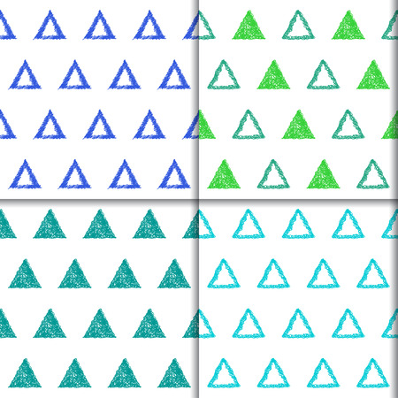 sihlouette: Hand drawn doodle triangle seamless patterns set. Abstract geometric cartoon childish backgrounds collection for use in design for card, invitation, poster, banner, placard, billboard cover