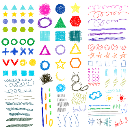 sihlouette: Hand drawn doodle funny childish shapes set. Abstract geometric handmade bright collection for use in design Illustration