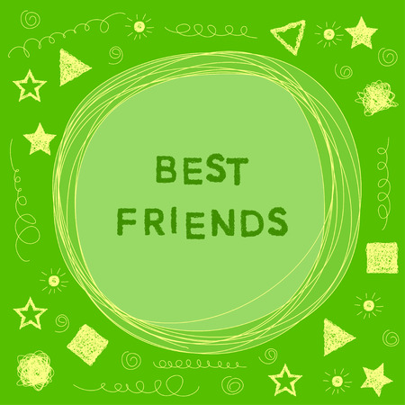 actual: funny doodle card background with hand drawn simple graphic elements for use in design. best friends theme Illustration
