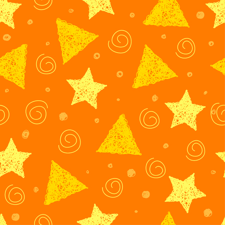 sihlouette: Doodle seamless pattern with handmade shapes. Hand drawn simple graphic elements isolated on stylish bright orange background for use in design