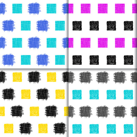 sihlouette: Doodle seamless squares pattern collection. hand drawn set with simple graphic geometric elements isolated on white background for use in design