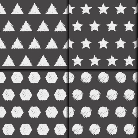 sihlouette: Doodle seamless pattern collection. Monochrome hand drawn set with simple graphic geometric elements isolated on dark cover for use in design. School theme.