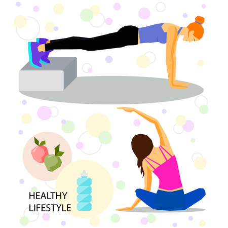 actual: Healthy lifestyle and sport theme. Exercises practicin set. Yoga and gym concept. Simple graphic illustration in trendy flat style for use in design for card, poster, banner, placard,  billboard cover