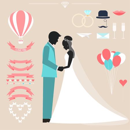 silueta humana: Colección de la boda con la novia, el novio silueta y elementos decorativos románticos aislados en el fondo con estilo para usar en el diseño de la tarjeta, invitación, cartel, pancarta, cartel, portada cartelera Vectores