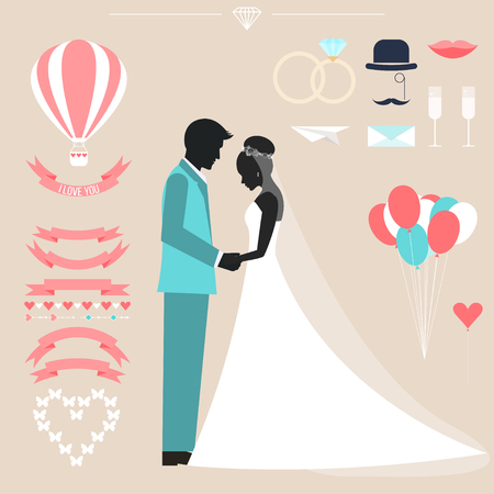 wedding couple: wedding collection with bride, groom silhouette and romantic decorative elements isolated on stylish background for use in design for card, invitation, poster, banner, placard, billboard cover