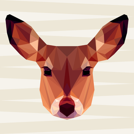 timid: Abstract deer head. Polygonal geometric triangle bright portrait isolated on beige background for use in design for card, invitation, poster, banner, placard, billboard cover
