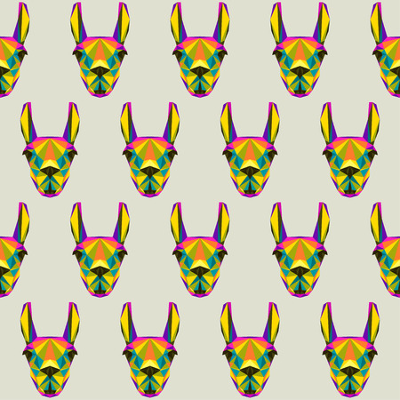 fell: Abstract llama seamless pattern backgroun. Bright motley polygonal triangle geometric illustration for use in design Illustration
