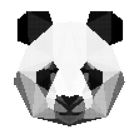 oso panda: retrato en blanco y negro oso panda abstracta aislado sobre fondo blanco para su uso en el diseño de la tarjeta, invitación, cartel, pancarta, cartel, portada de la cartelera