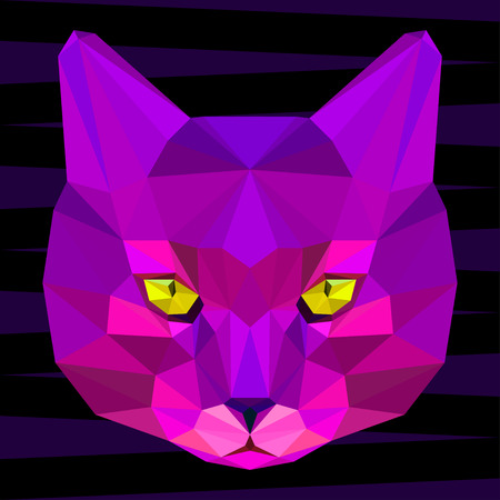 cat head: Abstract cat head. Polygonal geometric triangle bright purple portrait isolated on dark background for use in design for use in design for card, invitation, poster, banner, placard, billboard cover
