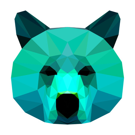 imaginary: Abstract bear head. Polygonal geometric triangle bright portrait painted in imaginary colors isolated on white background for use in design card; invitation; poster; banner; placard; billboard cover
