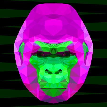 abstract gorilla: Abstract gorilla head. Polygonal geometric triangle bright portrait painted in imaginary colors isolated on dark background for use in design card, invitation, poster, banner, placard, billboard cover Illustration